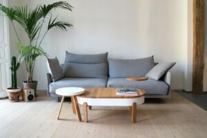 gray and white sofa beside brown wooden table